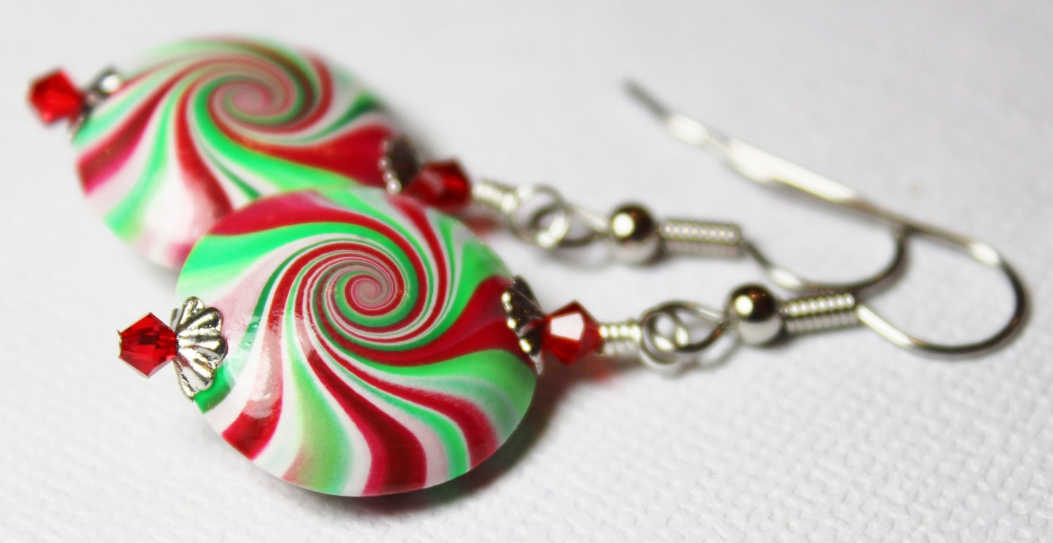 Handmade Beaded Jewelry Earrings Holiday Peppermint Polymer Clay Red White Green Swirl Spiral Crystal Lightweight...Christmas Candy