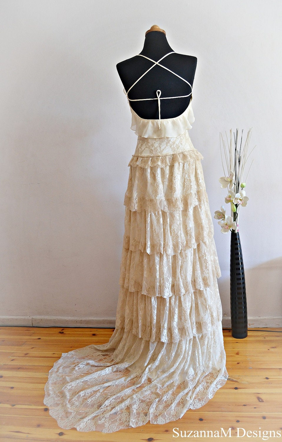 Cream lace bohemian wedding dress bridal by suzannamdesigns for Cream colored lace wedding dresses