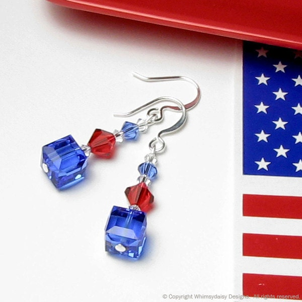 Star Spangled Red White & Blue Crystal Earrings