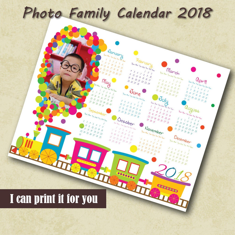 Custom 2018 Monthly Wall Calendar Template Hand Painted