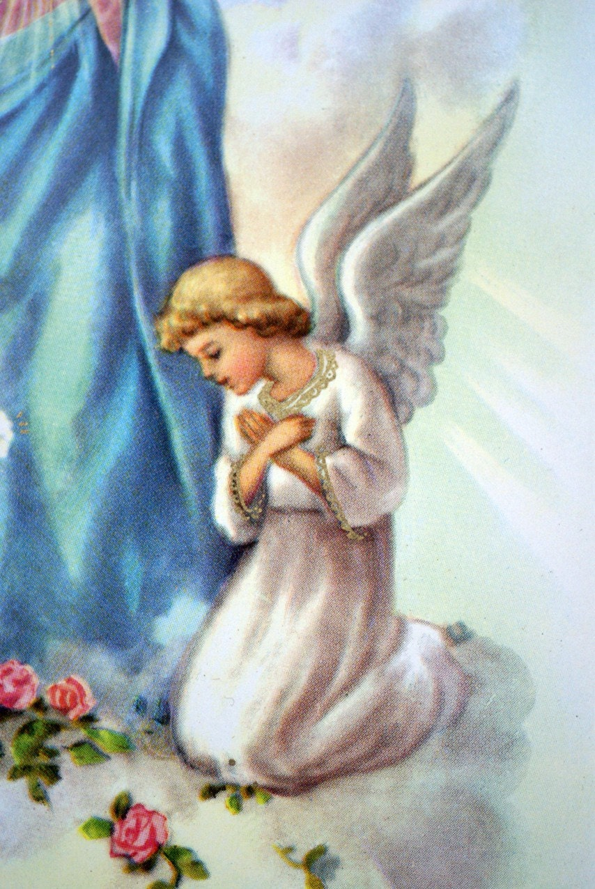 Vintage A Birthday Wish Religious Angels Mother Mary Greetings Card ...