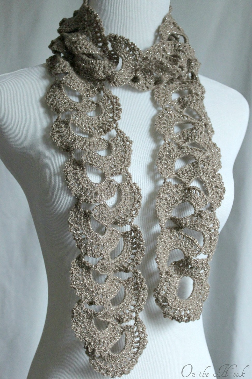 Crochet Scarf Queen Annes Lace Scarf Silver Taupe by OnTheHook