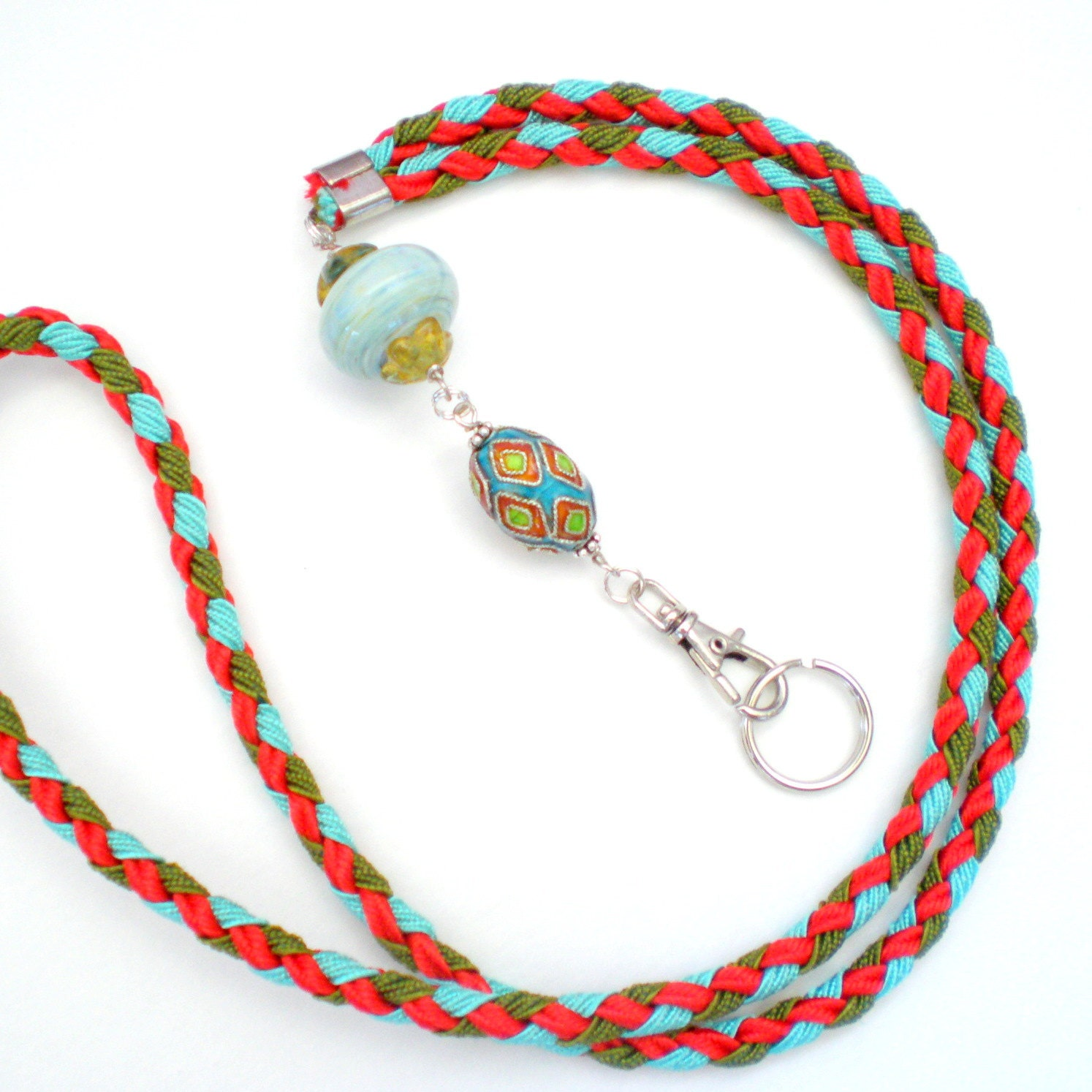Id Card Beads: Hand Braided And Beaded Id Badge Lanyard Southwest By Ohmay