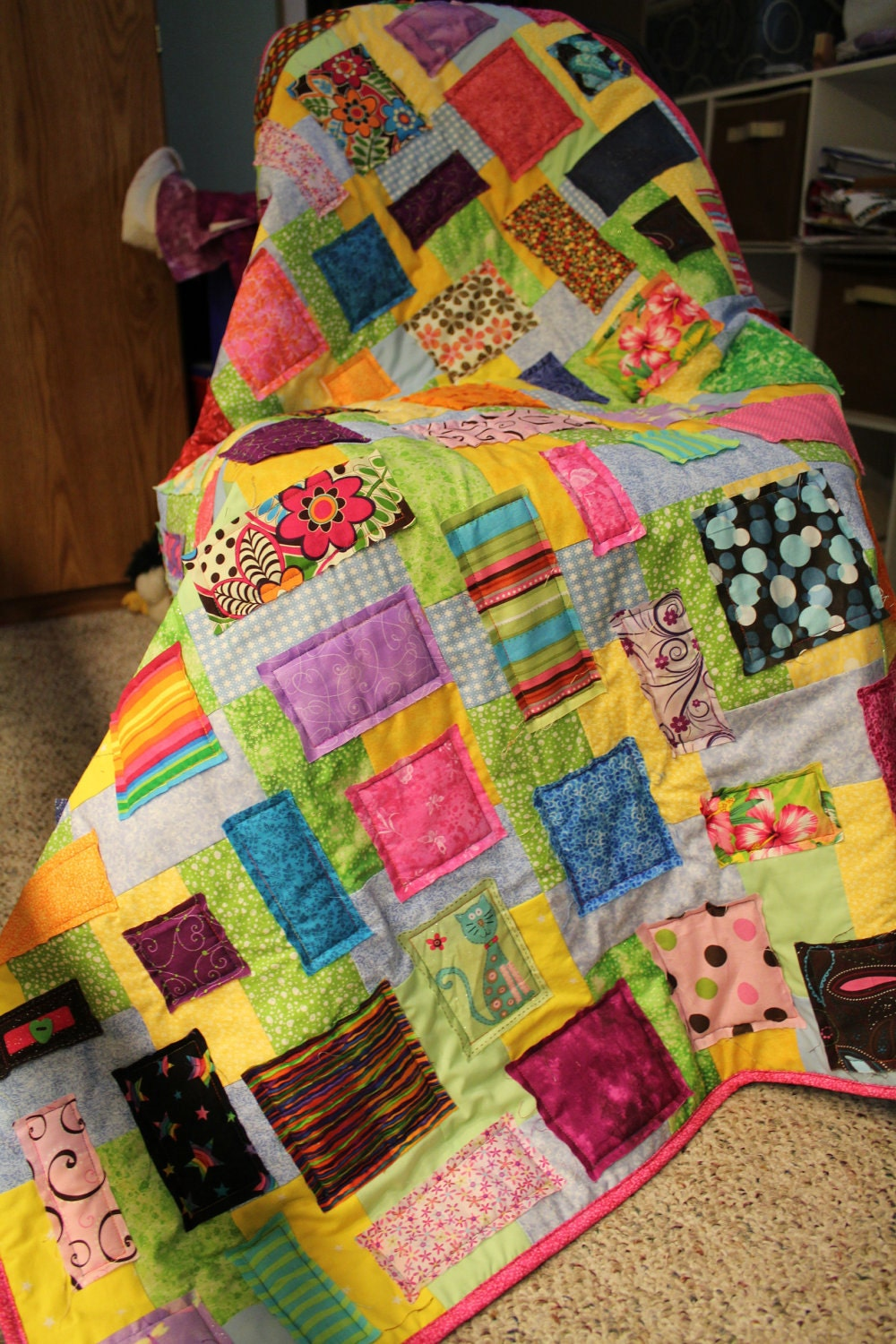 Girls Colorful Custom Taggie Quilt
