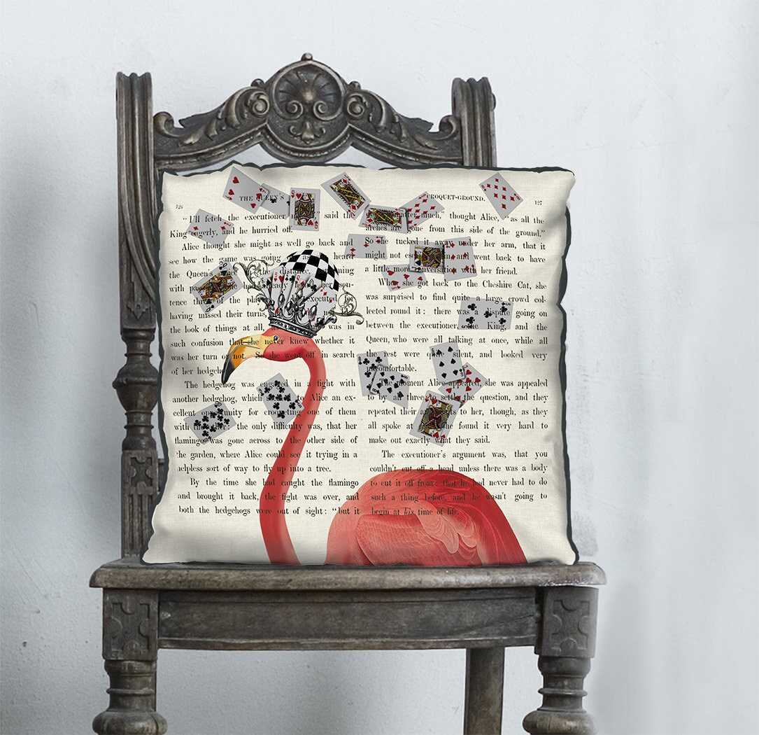Alice in wonderland pillow cover  Pink Flamingos pillow Pink Flamingos cushion  alice in wonderland decor Pink Flamingo print decorations