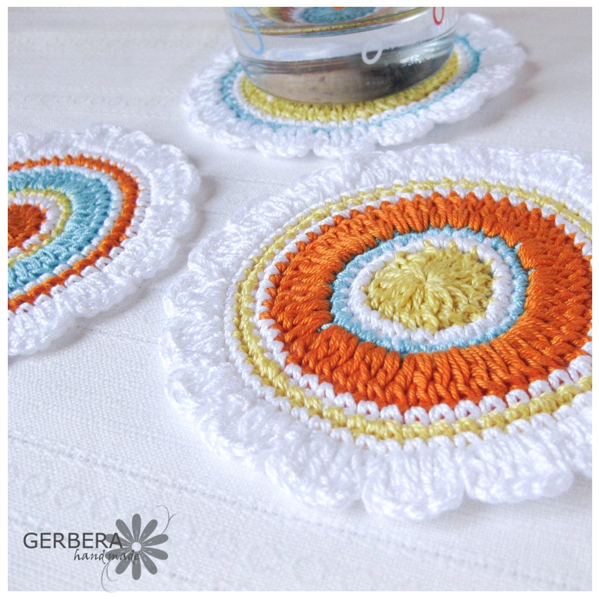 Crochet Coasters/Doilies of Multicolor Set of 3 Shades cotton 10 cm