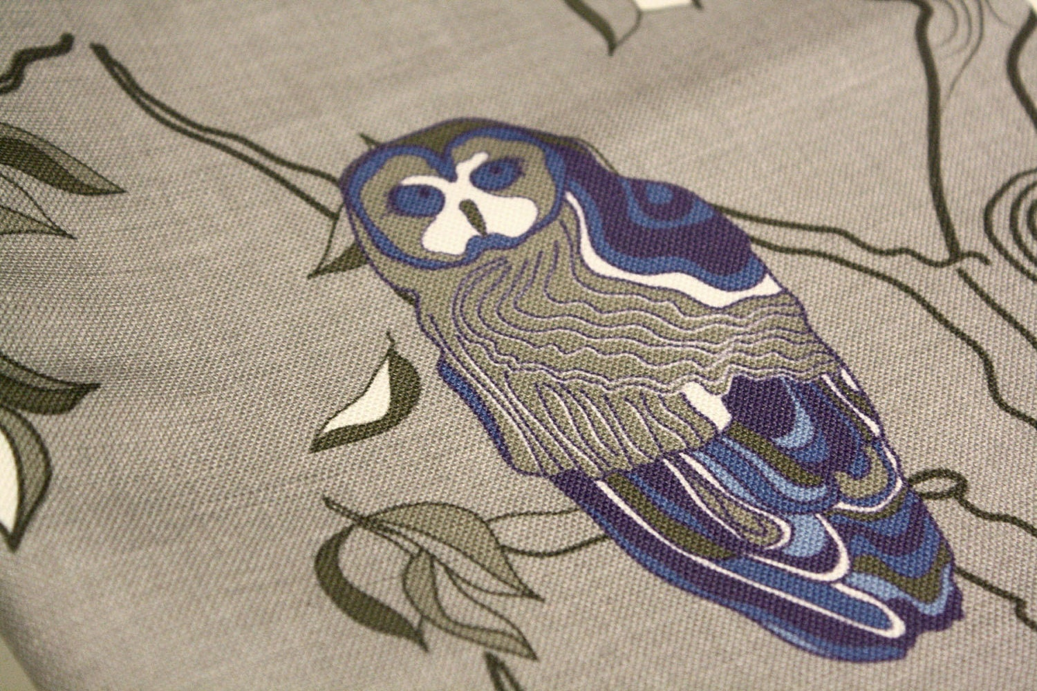 Medium Weight Fabric with owls - custom design  - Greys, blues, white - ships 10 days after order - NewMomDesigns
