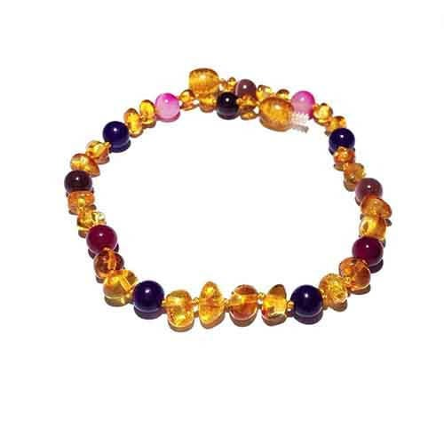 Adult Emily Honey Baltic Amber Amethyst Pink Purple Agate Bracelet
