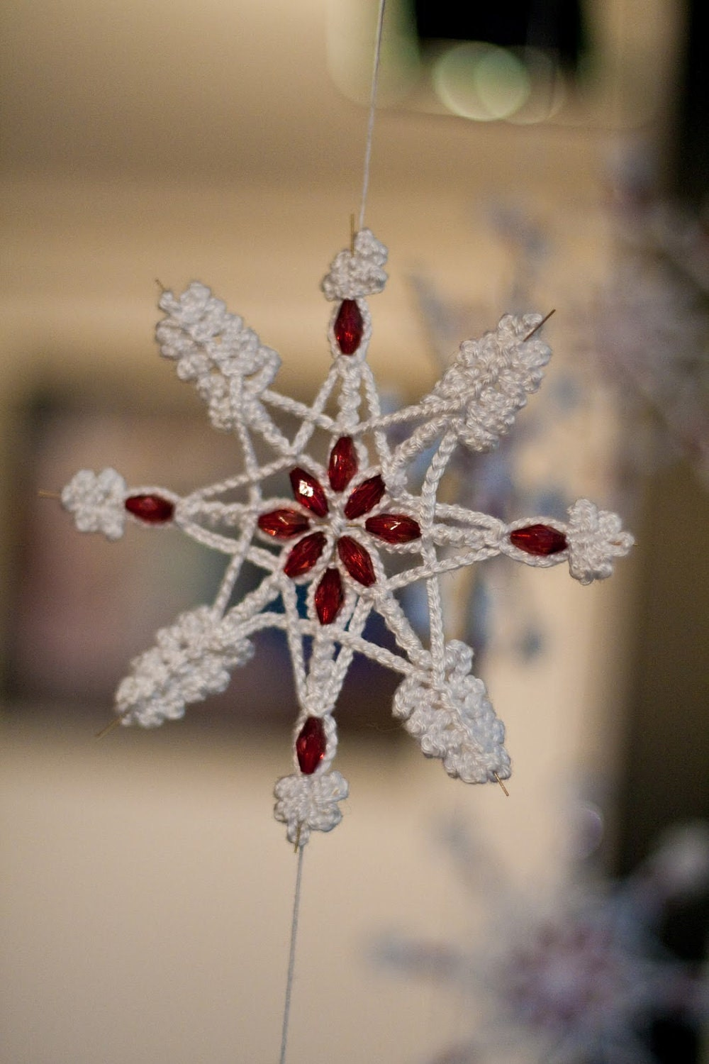 Crochet Christmas Snowflake Red Crystal Beads Wire Star Cotton Yarn Home Decoration Office Decor Gift designed by dodofit on Etsy