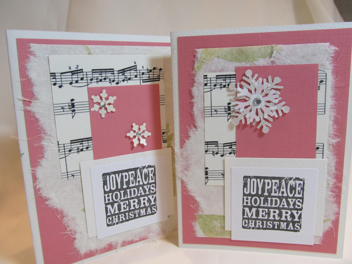 Handmade Card - Handmade Christmas Card - Hand Stamped Card - Black and Ivory -  Pink Accents - Mulberry Paper - Snowflakes - Musical Notes - PrettyByrdDesigns