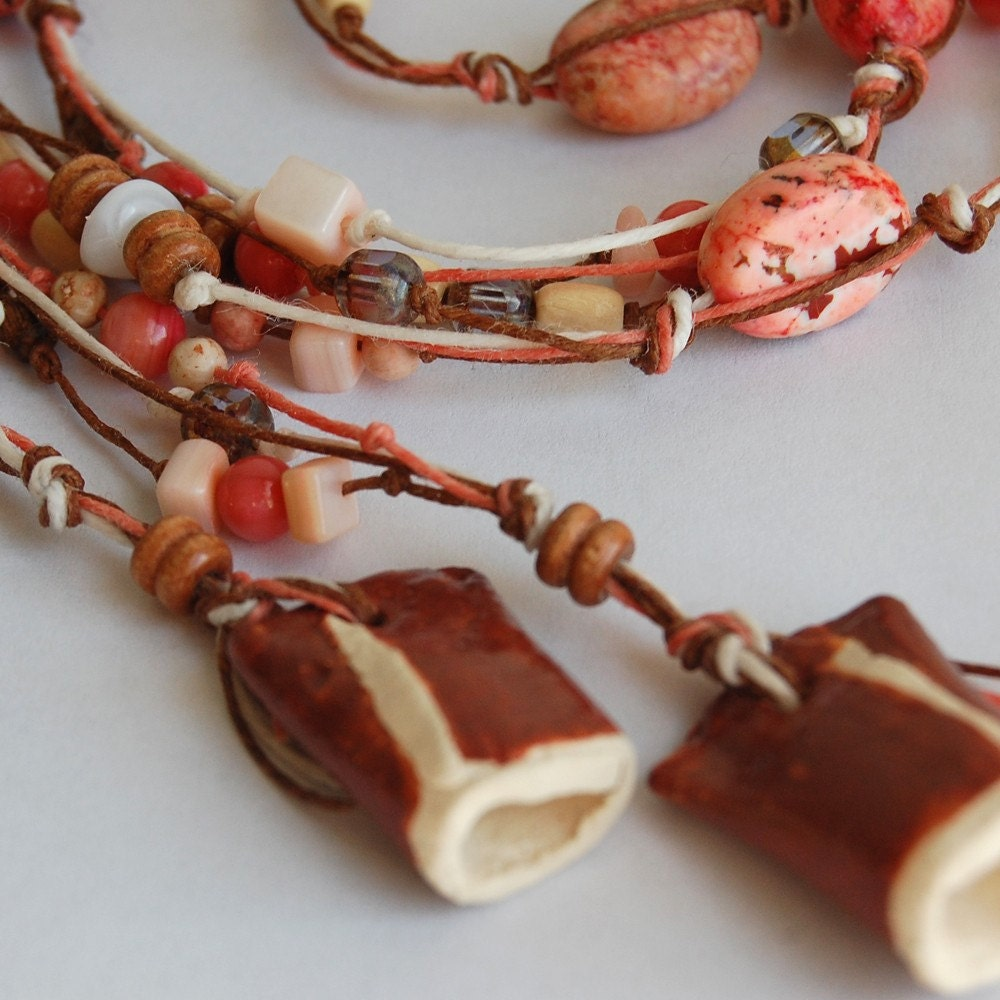 Lariat Necklace / Clay Bead Caps / Ruby Red / Neapolitan / Long / Short - LASpottery