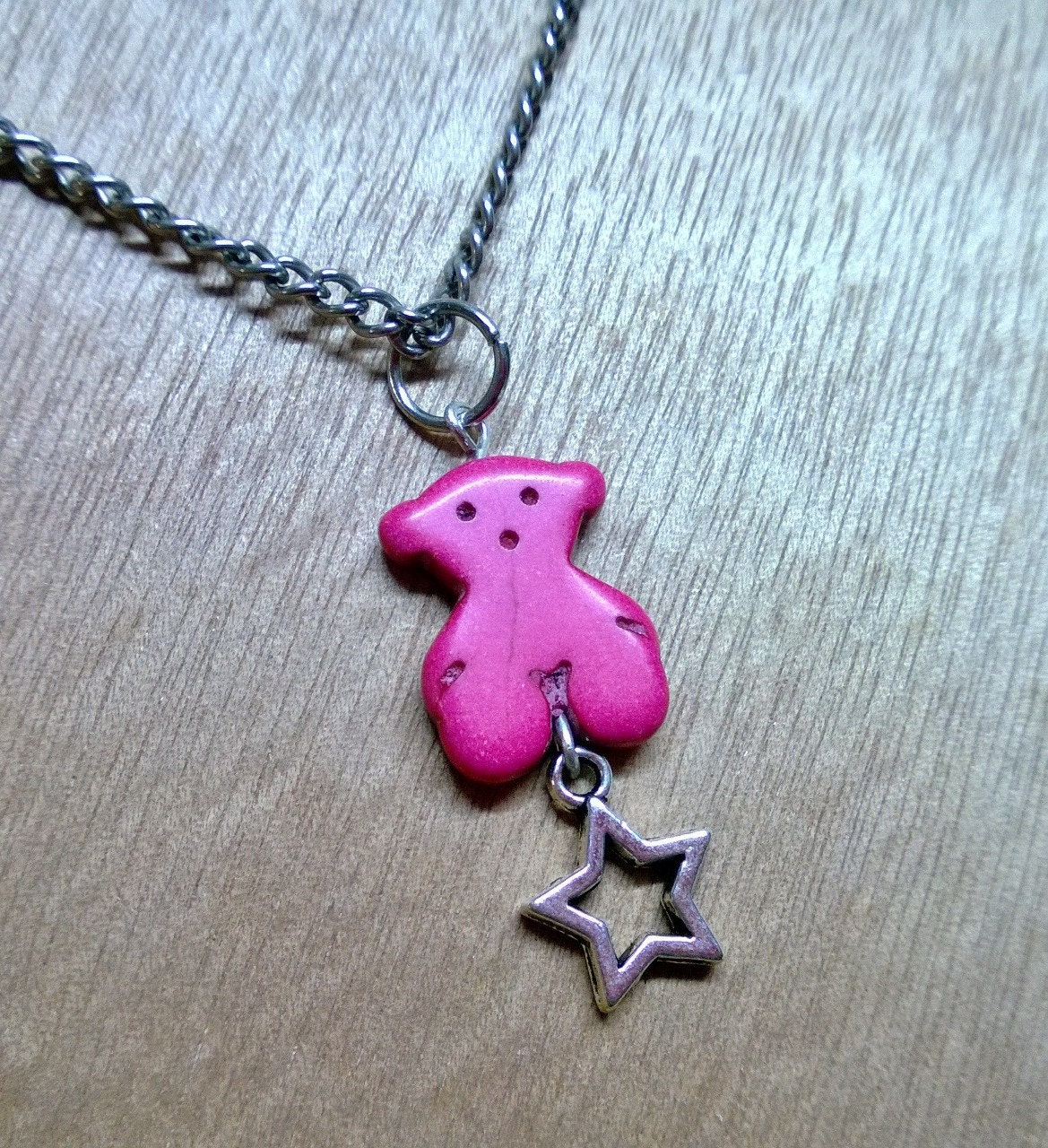 Cute Turquoise Bear & Star Pendant Necklace (Available in 6 colors) - Pelhuaz
