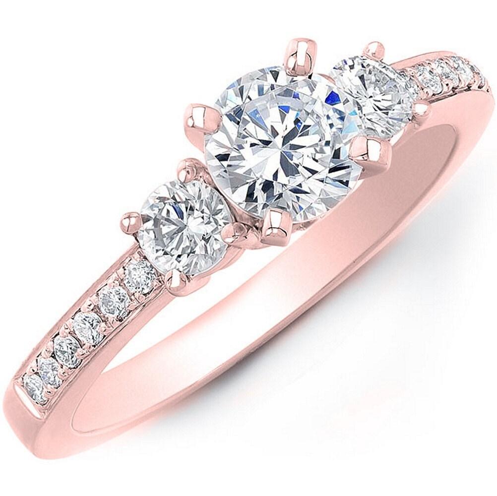 14k White Gold Princesscut amp Round Diamond 3Stone