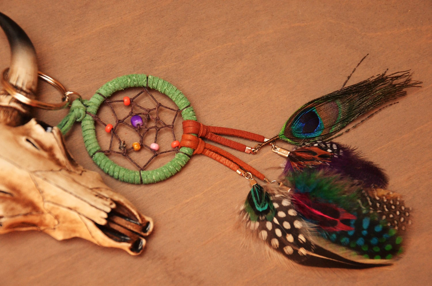 Lucky Star Dreamcatcher Feather Custom Made Purse Charm/ Bag Ring