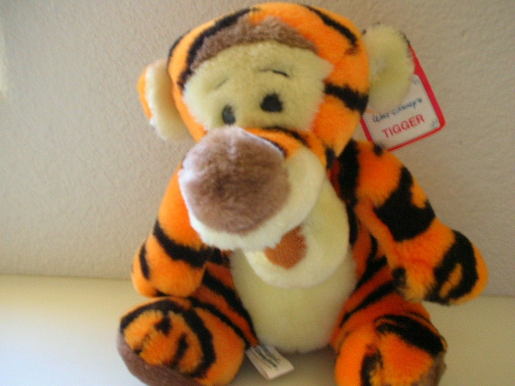 vintage tigger stuffed animal winnie the pooh with original tag from