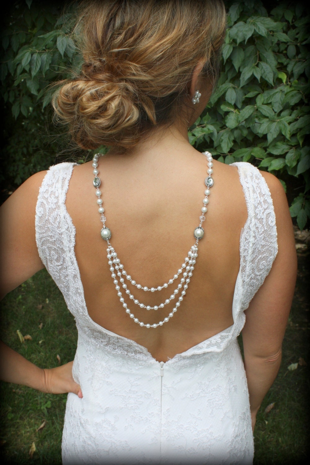 Necklace pearl necklace back drop necklace bridal back necklace