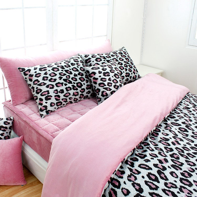 Pink leopard microfiber queen duvet cover set by bhdecor on etsy - Pink cheetah bed set ...