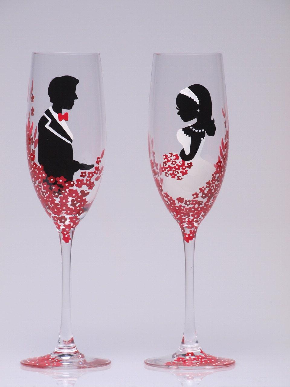 Раскрасить бокалы на свадьбу своими руками