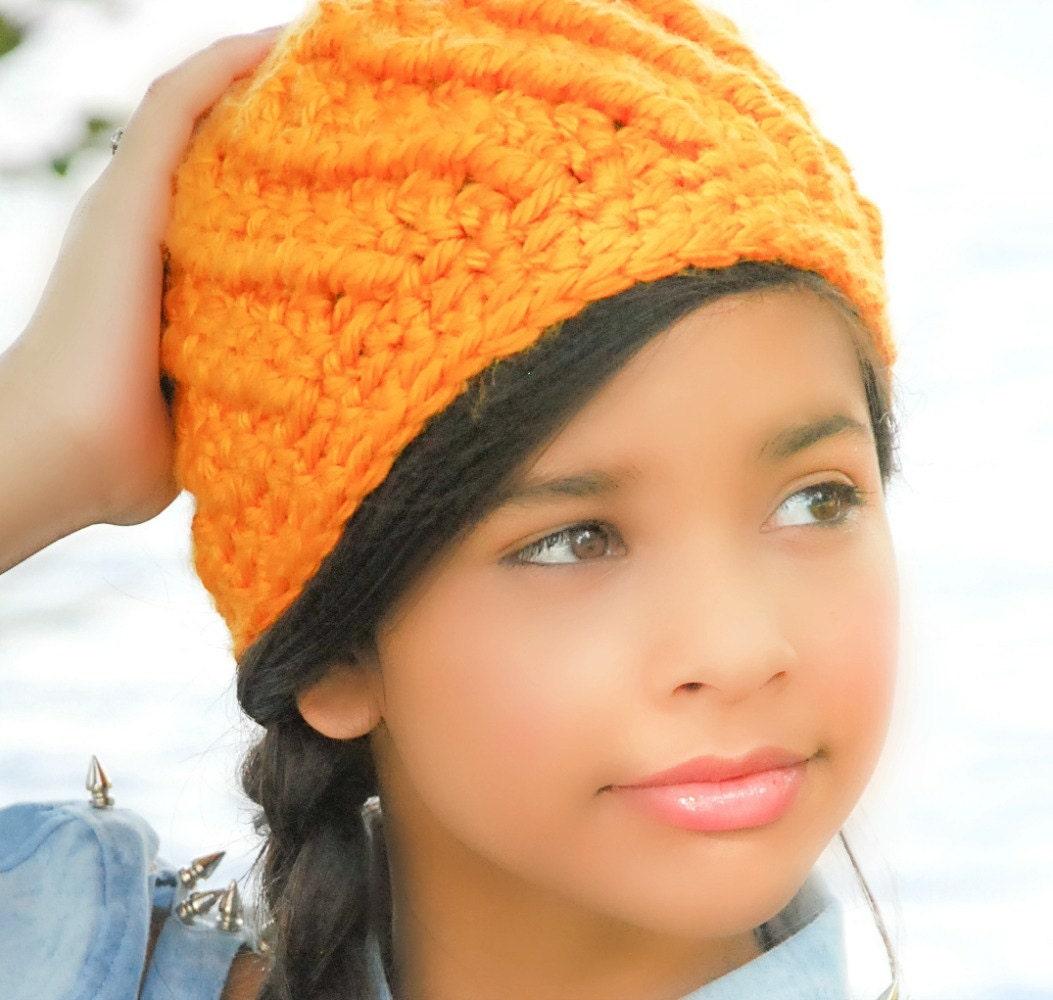 Items similar to Orange Beanie Hat Crochet Beanie Hat for