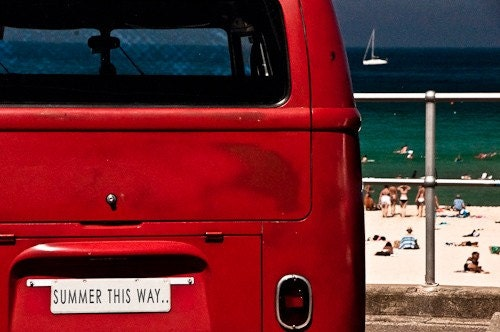 Summer this way - 4 x 6 inch fine art photographic print. Iconic red combi. blue sky. torquoise ocean. white sand. bikinis. water babies. bondi beach. sydney. all in the name of summer. Other sizes available