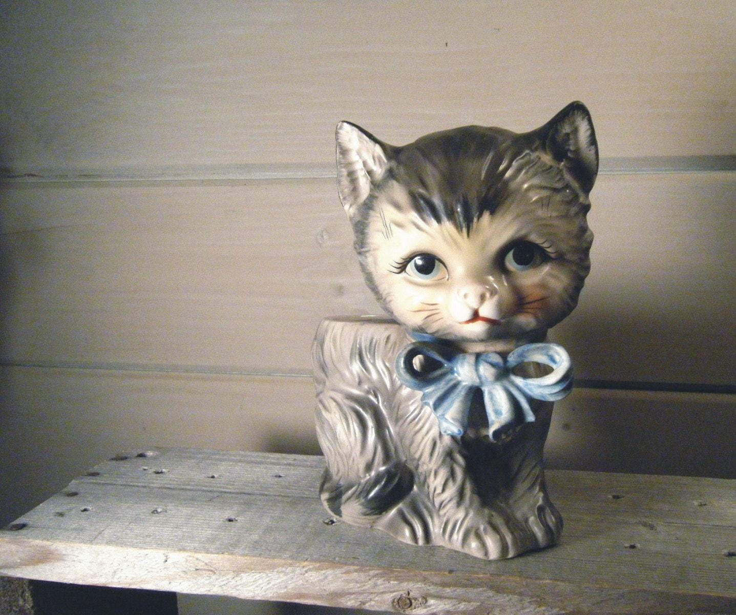 Kitten Cat Planter Vintage 1940s Animal By Theanimalsmagicshop
