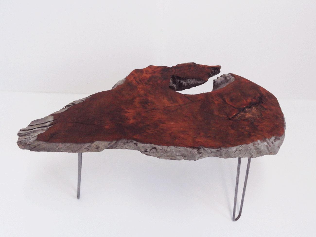 Redwood Burl Slab Coffee Table Hairpin Legs