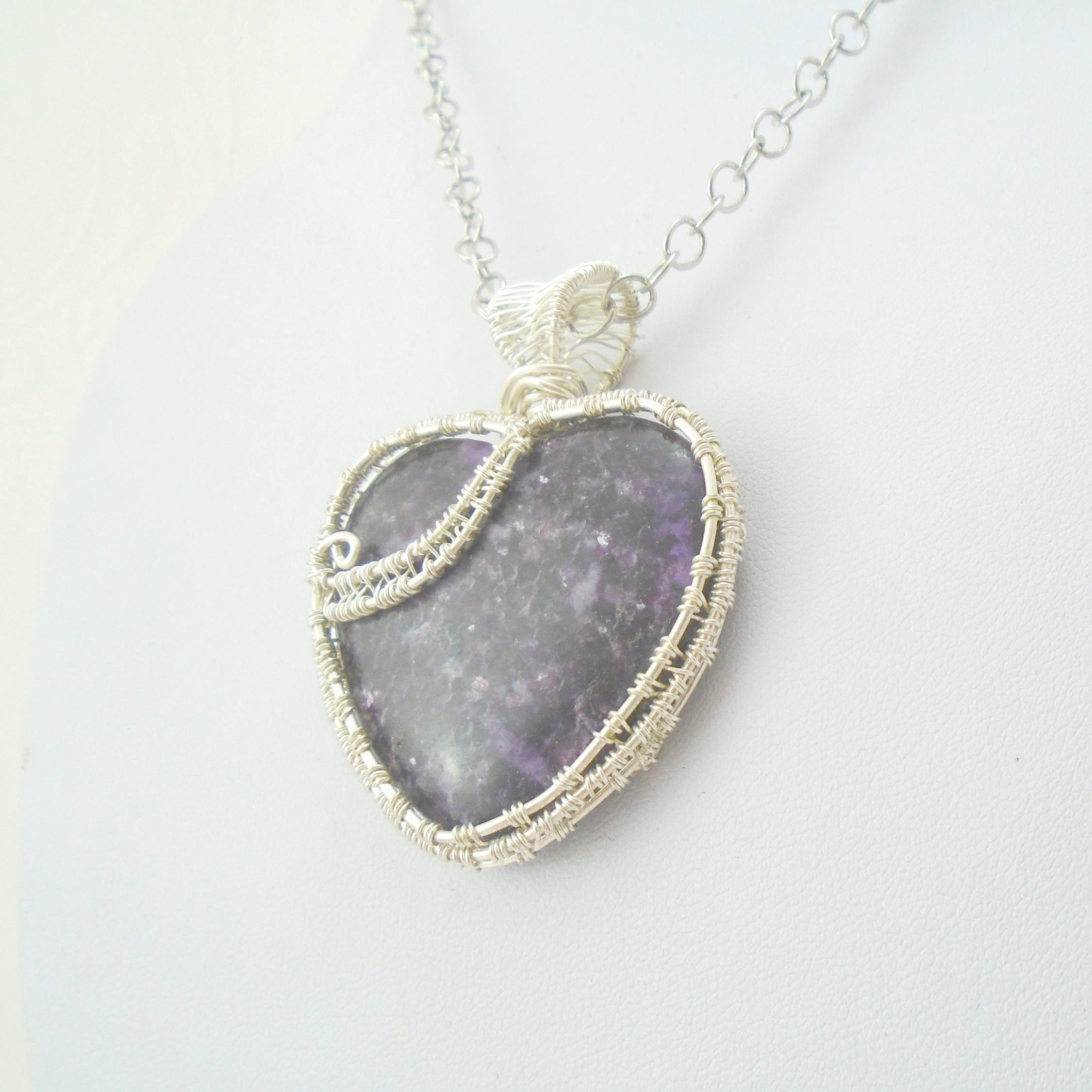 Amethyst pendant Heart Pendant wire wrapped jewelry amethyst necklace Heart necklace February birthstone heart cabochon gift for her