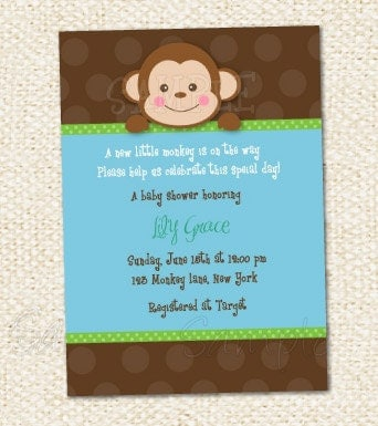 Monkey Themed Baby Shower Invitations is the best ideas you have to choose for invitation example