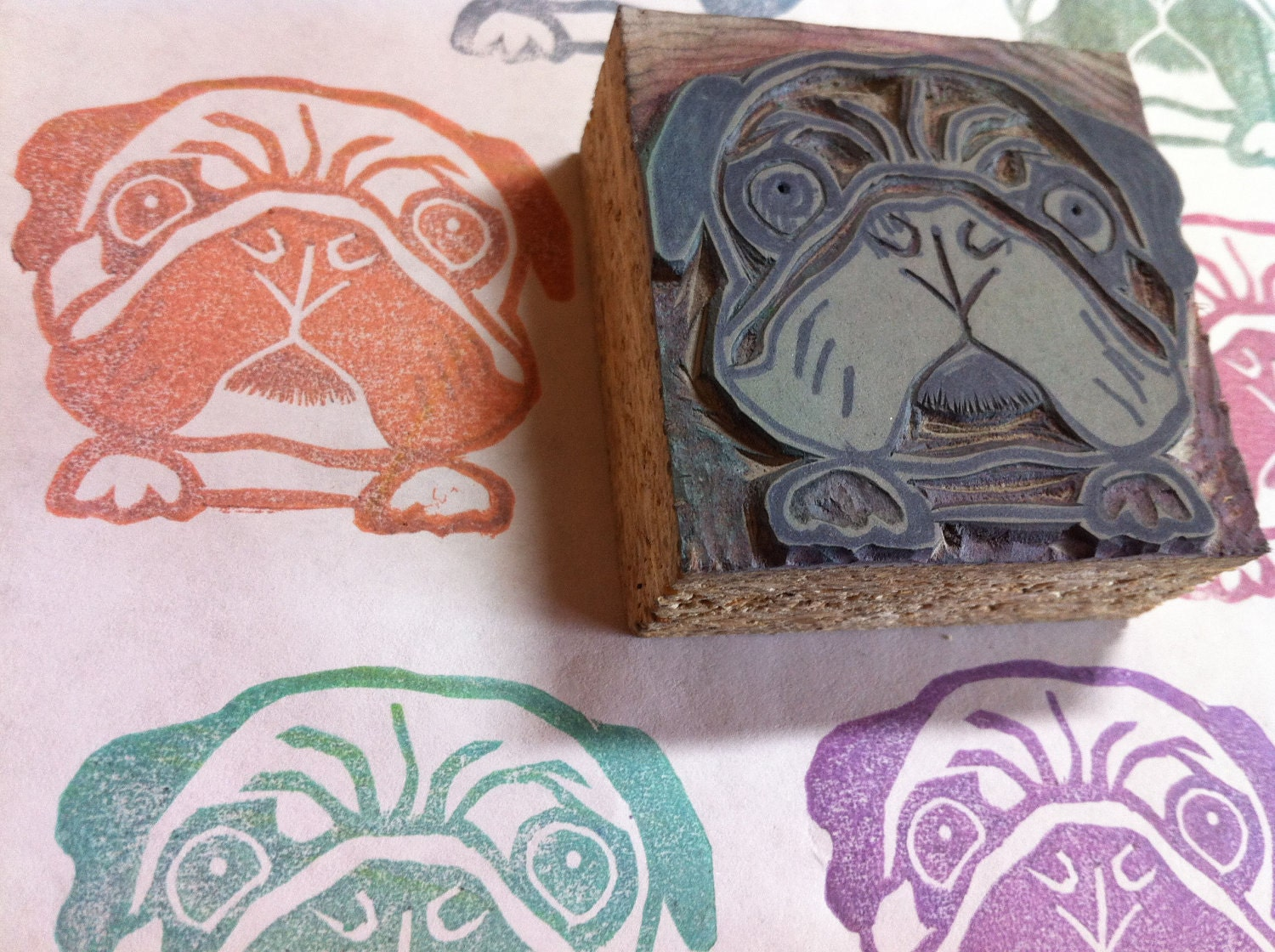 Items similar to pug stamp hand carved linoleum quot