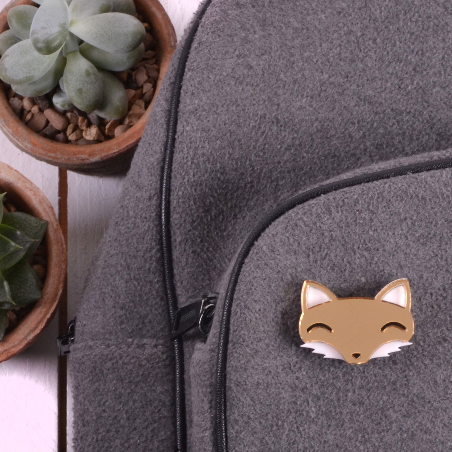 Fox Brooch  Fox Jewellery  Fox Gifts  Fox Lover Gift  Gold Fox  Animal Statement Jewelry  Acrylic Pin Badge  Gifts For Her