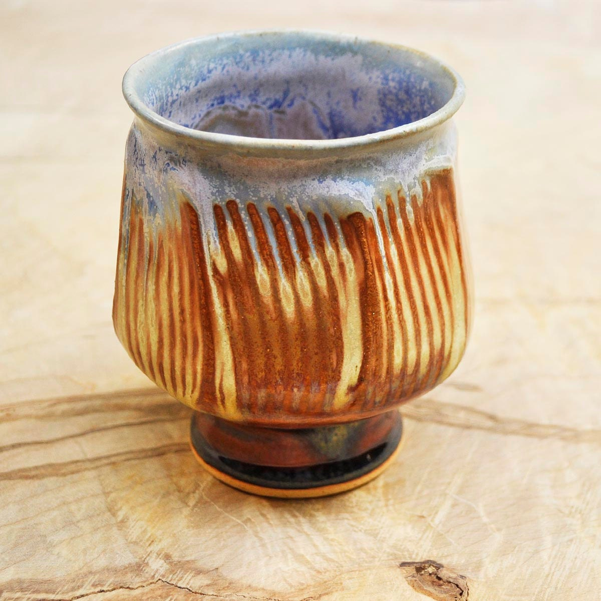 Zen Tea Bowl (yunomi) geometric  faceted ceramic cup Night Sky - OneClayBead