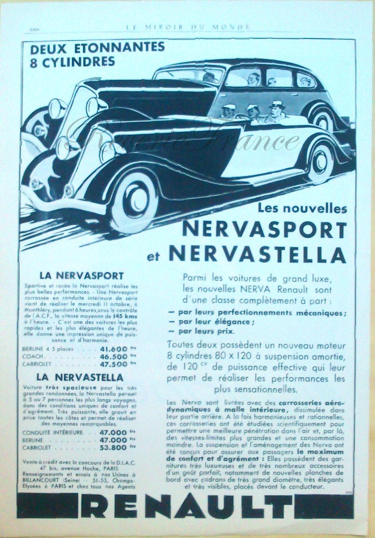 KZ et original Vintage Ad Franais Renault Automobile 1933 Nervasport