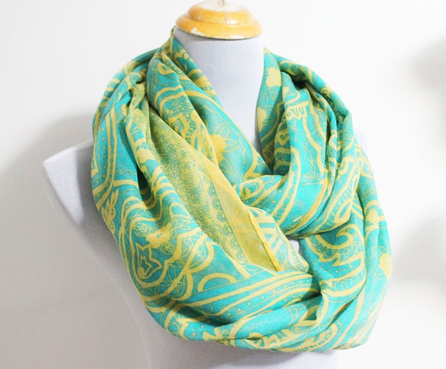 Green Paisley Aztec Infinity Scarf Flower Pattern Scarf Aztec Floral Infinity Scarf Loop Scarf Infinity