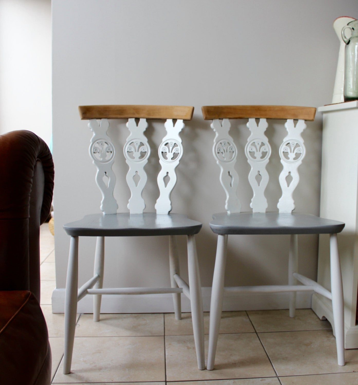 Pair of Upcycled White and Grey Ercol Dining Chairs in Farrow  Ball Paint (sold as pair)