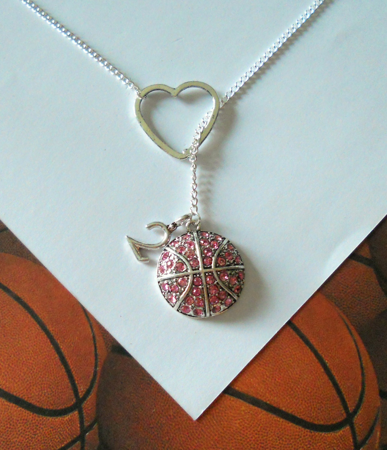 pink basketball lariat necklace with by melissamarierussell