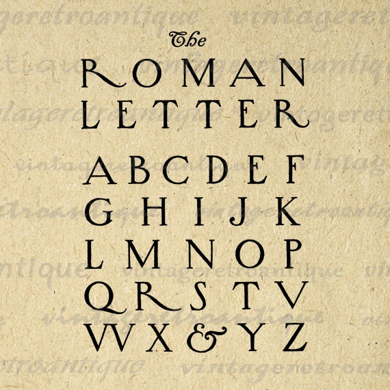Printable Graphic Roman Style Letters By Vintageretroantique