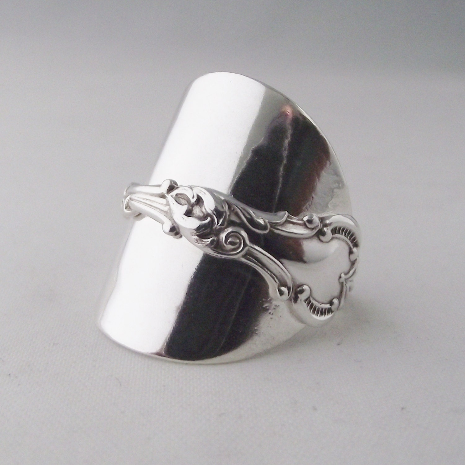 Beautifully Unusual Handmade Antique Sterling Silver Spoon Ring dated 1902 Jewellery Unique Gift
