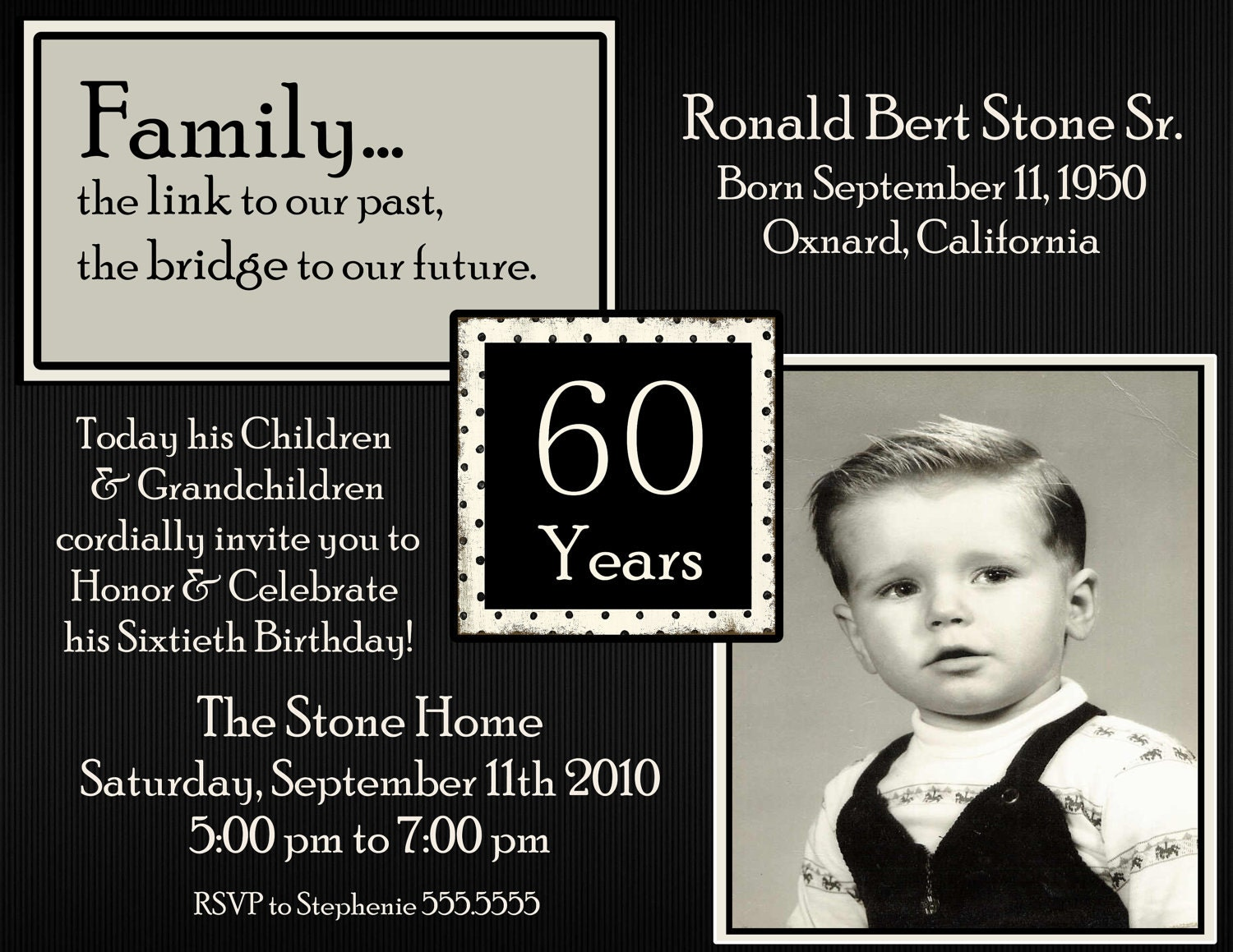 60th Picture Birthday Digital Invitation by Stonelovedesigns