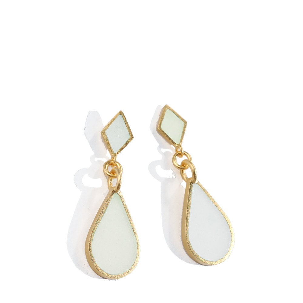 Mothers Day Sale Bridal Earrings, Bridesmaid Mint and Gold Earrings - MatkaShop