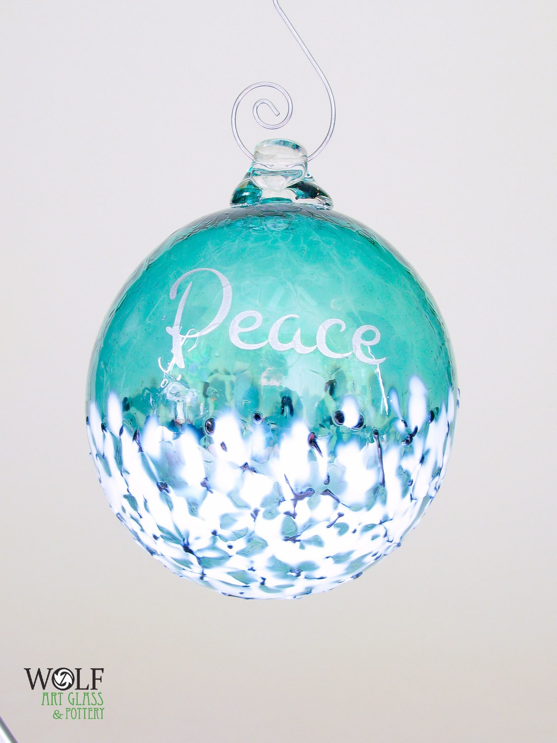 Glass Christmas Tree Ornament Silver Peace Etched Ball Deep Teal Blue ...