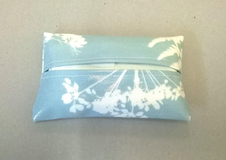 Tissue holder in pale blue with fern pattern ladies tissue pouch pocket tissues travel tissue cover tissue pouch oilcloth tissue pouch