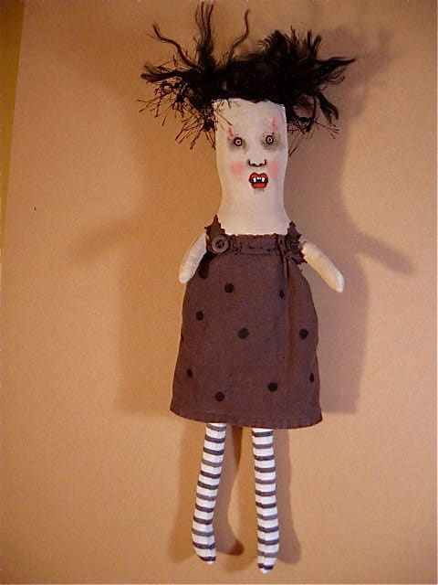 art doll Marta vampire- ooak-  vampire rag doll-  Rag Dolls Gone Wild series- creepy- ugly cute