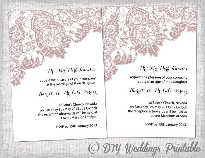 Wedding Invitation Template Antique Lace By