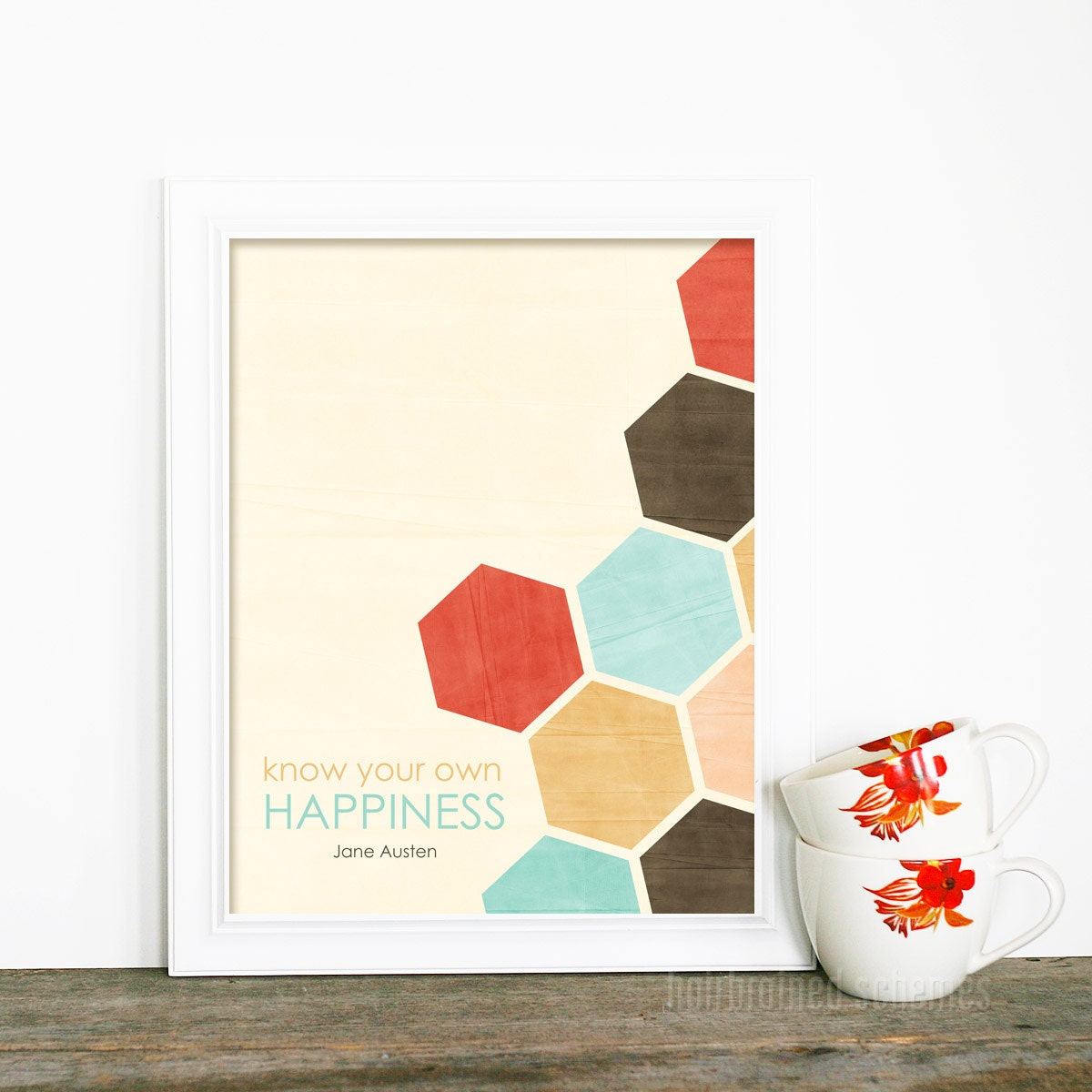 Jane Austen Digital Art Print - Know Your Own Happiness - Geometric Honeycomb Southwest Inspired Aqua Red Brown - hairbrainedschemes