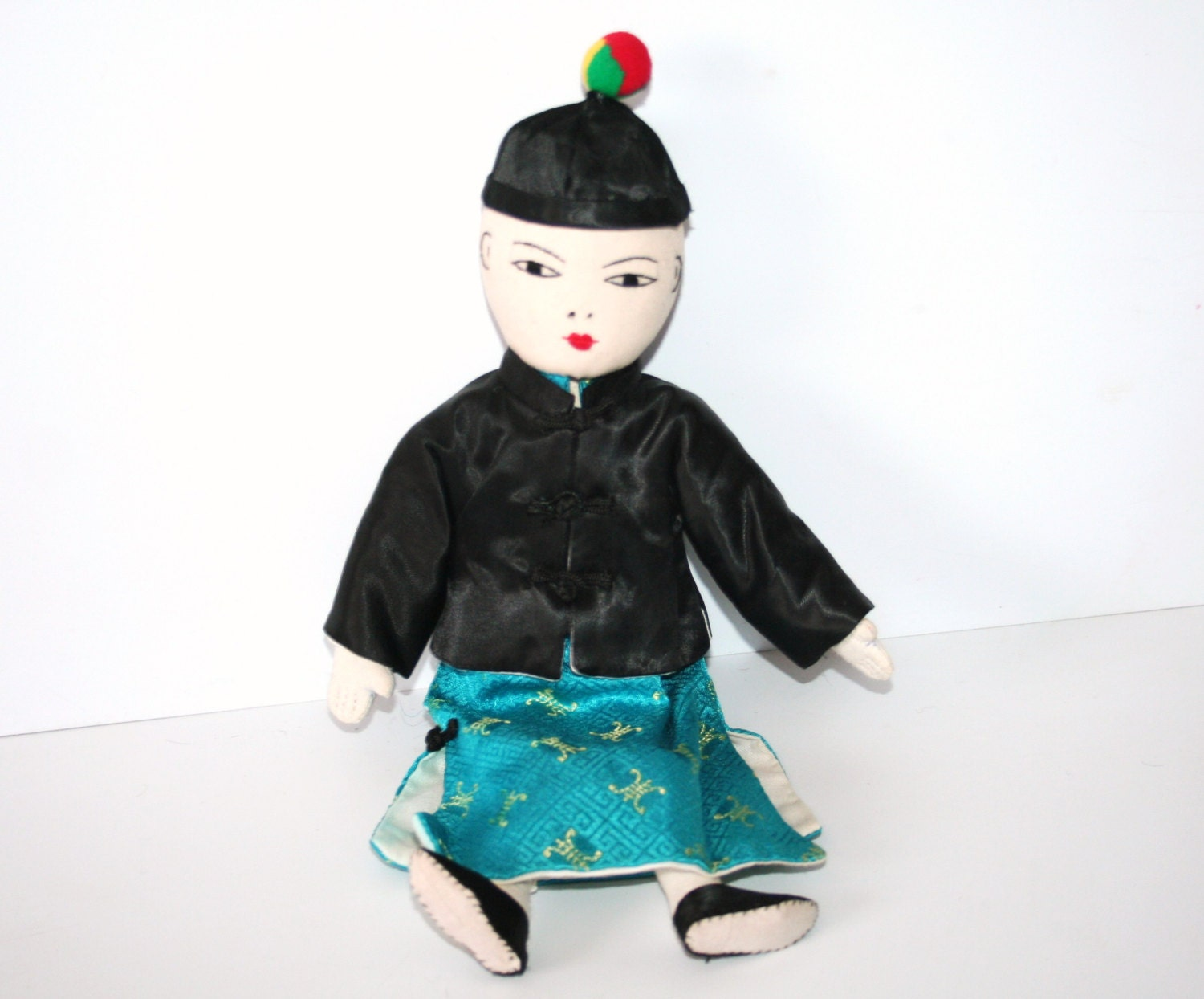 Classic Vintage Cloth Asian Doll  sewn on features yarn hairtraditional dress MEMsArtShop.
