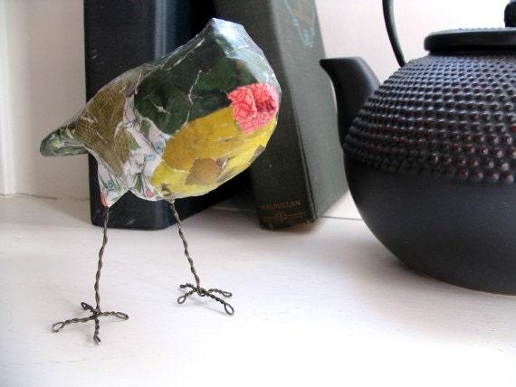 Green bird sculpture art object paper mache 39 by for Paper mache objects