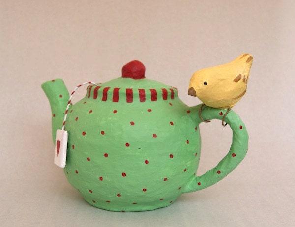 Paper mache Teapot with birdie