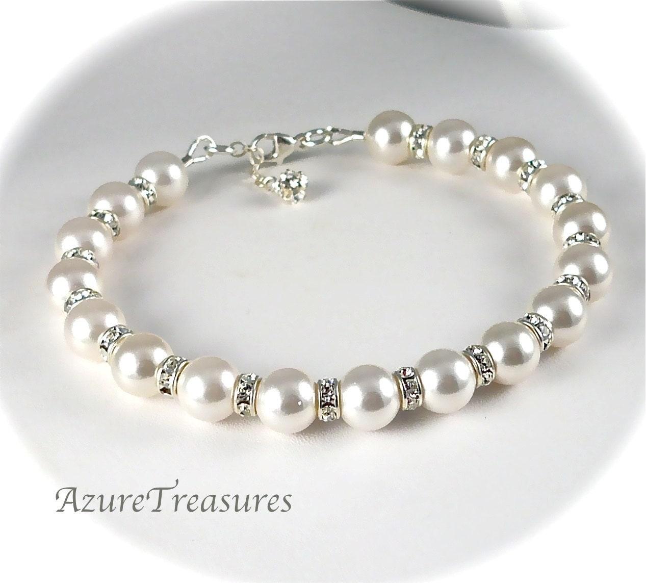 Pearl and rhinestone bridal bracelet swarovski pearl bracelet