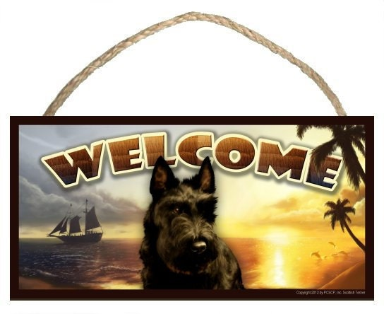 "Scottish Terrier Summer Season 10"" x 5"" Wooden Welcome Sign"