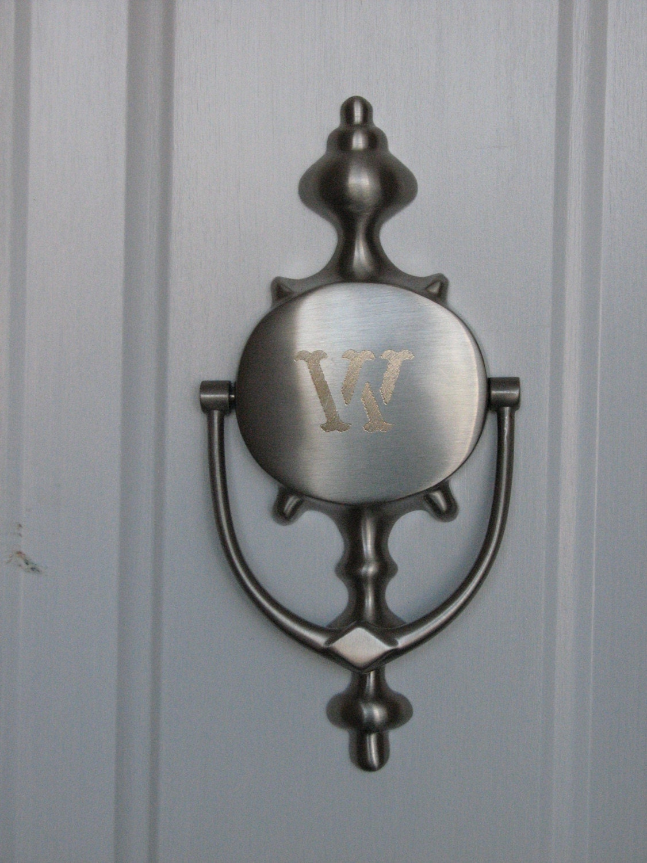 Engraved magnetic door knocker satin nickel by daisybeedesigns - Nickel door knocker ...